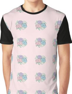 Pink Floral Rose Pattern  Graphic T-Shirt