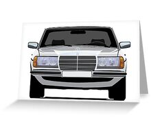 Mercedes-Benz W123 white illustration Greeting Card