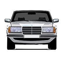 Mercedes-Benz W123 white illustration Photographic Print
