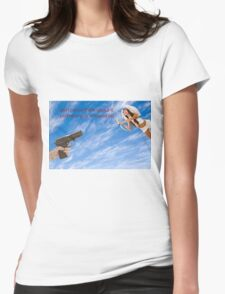 gun is being pointed at Cupid (Greek Eros)  Womens Fitted T-Shirt