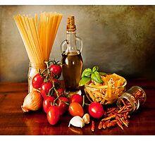 Italian pasta, arrabbiata sauce recipe Photographic Print