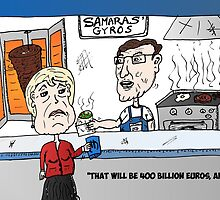 Angela Merkel eats Antonis Samaras Gyros by Binary-Options
