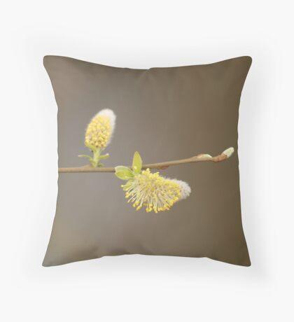 Yellow Willow Catkins Throw Pillow