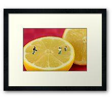 Playing baseball on lemon Framed Print