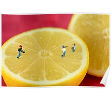 Playing baseball on lemon Poster
