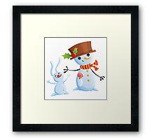 Christmas Snowman & Bunny Framed Print