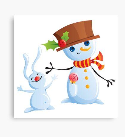 Christmas Snowman & Bunny Canvas Print