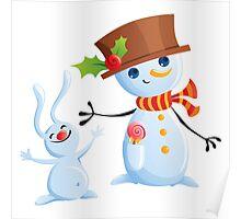 Christmas Snowman & Bunny Poster