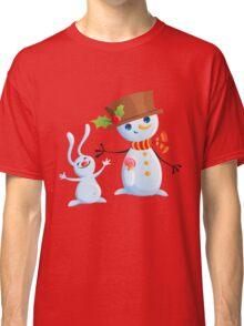 Christmas Snowman & Bunny Classic T-Shirt