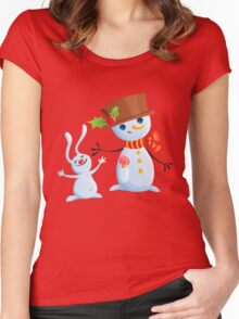 Christmas Snowman & Bunny Women's Fitted Scoop T-Shirt