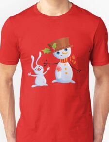 Christmas Snowman & Bunny Unisex T-Shirt