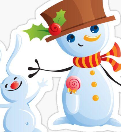 Christmas Snowman & Bunny Sticker