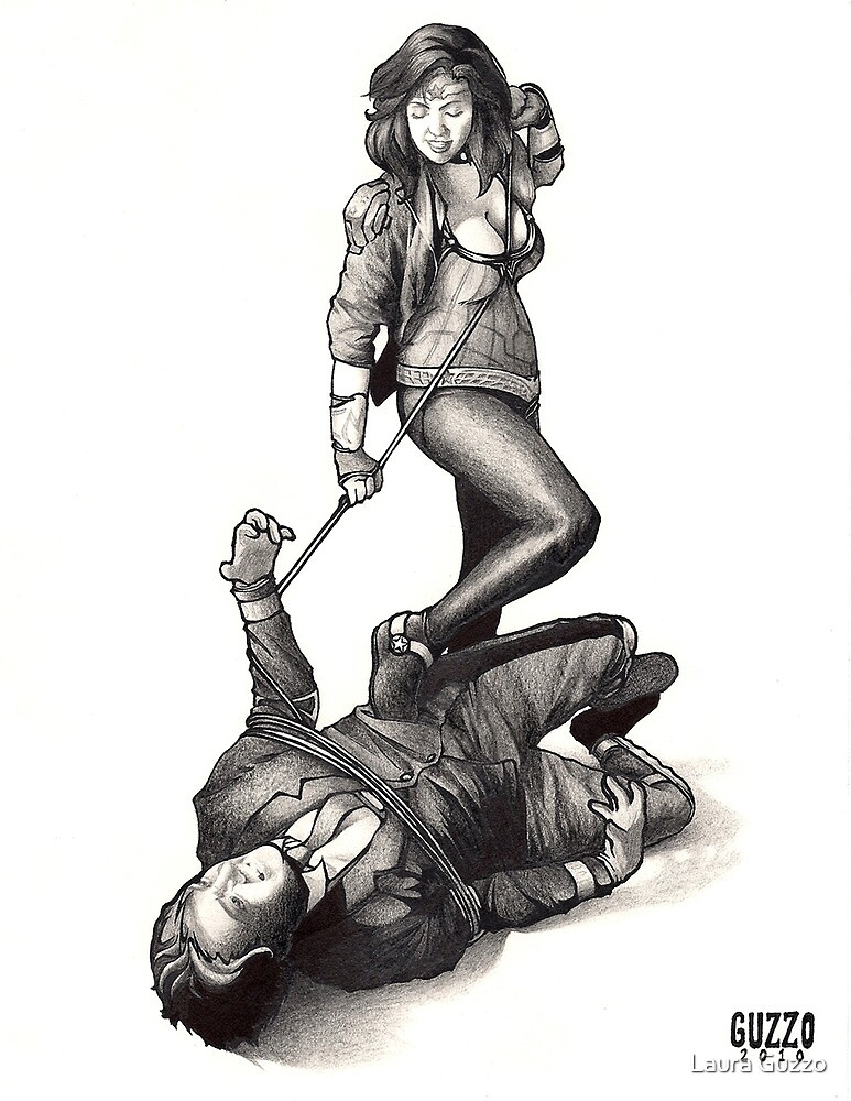 Wonder Woman Capturing Villain by Laura Guzzo