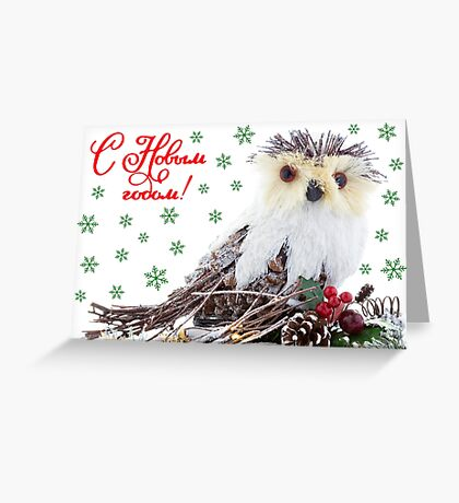 Christmas Wise Owl Vintage Rustic  Greeting Card