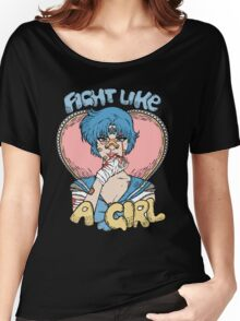 Sailor Moon- Fight Like a Girl (Sailor Mercury) Women's Relaxed Fit T-Shirt
