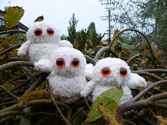 Hand Knitted Three cute Owl babies by mrsmcvitty