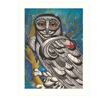 snowy owl with red star Art Print