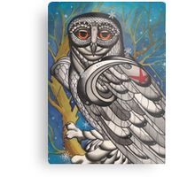 snowy owl with red star Metal Print