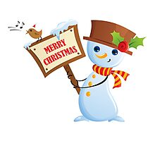 Merry Christmas Snowman Photographic Print