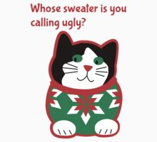 Ugly Christmas Sweater Cat Kids Tee