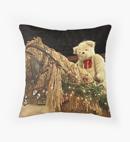 Time For A Christmas Teddy Ride Throw Pillow