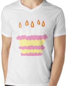 Pink White Birthday Cake Mens V-Neck T-Shirt