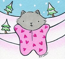 Gray Cat in a Pink Snow Suit by Zoe Lathey