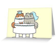 Kitty Cat Wedding Cake Couple Greeting Card