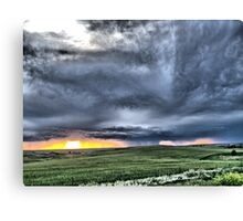 Prairie Squall at Sunset Canvas Print