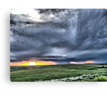 Prairie Squall at Sunset Canvas Print