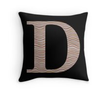 Letter D Metallic Look Stripes Silver Gold Copper Throw Pillow