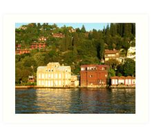 some buildings on the bank of bosphorus. Art Print