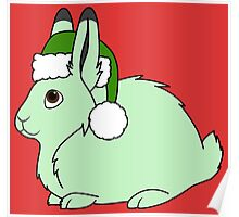 Light Green Arctic Hare with Christmas Green Santa Hat Poster