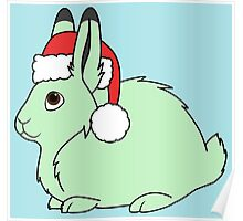 Light Green Arctic Hare with Christmas Red Santa Hat Poster