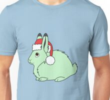 Light Green Arctic Hare with Christmas Red Santa Hat Unisex T-Shirt
