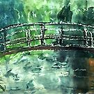 The Japanese bridge, by Monet,my version, watercolor by Anna  Lewis