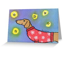 Dachshund Puppy Dog Waiting for Snow Greeting Card