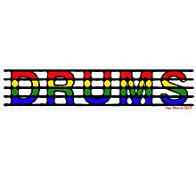 Drums of Many Colours Photographic Print