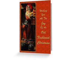 Old Fashioned Santa Christmas Card Greeting Card