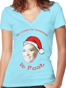 POOT LOVATO MEME Women's Fitted V-Neck T-Shirt