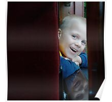 Noah and then his reflection on the sill of the train car. Poster
