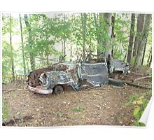 Retro Rustic Classic Car Withering Away Poster