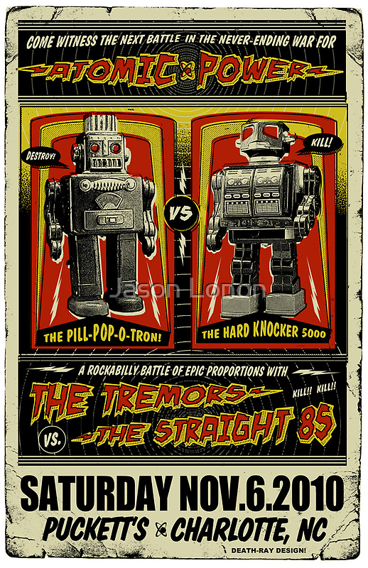 Rockabilly Robot Battle Poster by deathray66