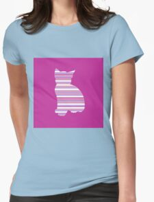 Kitten in Stripe Womens Fitted T-Shirt