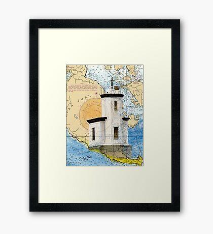 Cattle Pt Lighthouse WA Nautical Map Cathy Peek Framed Print