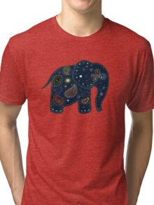 blue embroidered elephant Tri-blend T-Shirt