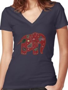 Red embroidered elephant Women's Fitted V-Neck T-Shirt