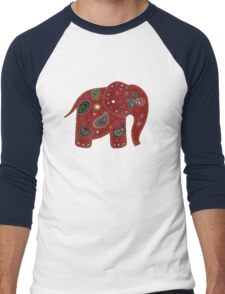 Red embroidered elephant Men's Baseball ¾ T-Shirt