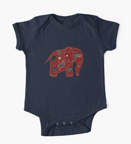 Red embroidered elephant Kids Clothes