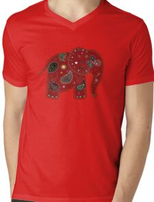 Red embroidered elephant Mens V-Neck T-Shirt
